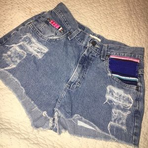 Vintage Jean Shorts with Embroidered Pockets